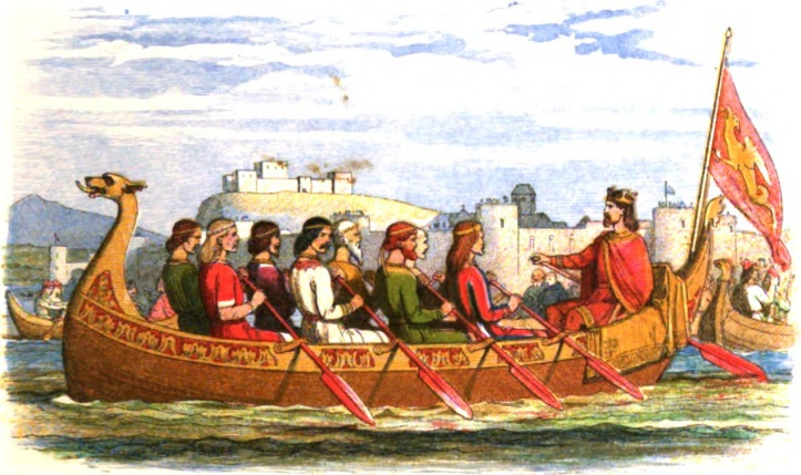 Pic 1. A fanciful Victorian view of eight kings or princes rowing down the Dee from Chester in 973 with King Edgar I at the helm. At least one of the picture's inaccuracies is that the city did not have a castle at the time. Also, a little more outboard on the oars would have helped.