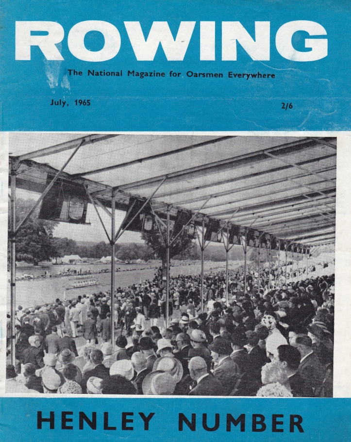 Pic 1. The cover of the Henley Preview edition of Rowing magazine, dated July 1965. The picture shows televisions in the grandstands at the 1964 Regatta. The caption inside says 'TV cameras will again give full coverage of the racing on closed circuit and live BBC2 transmissions'.