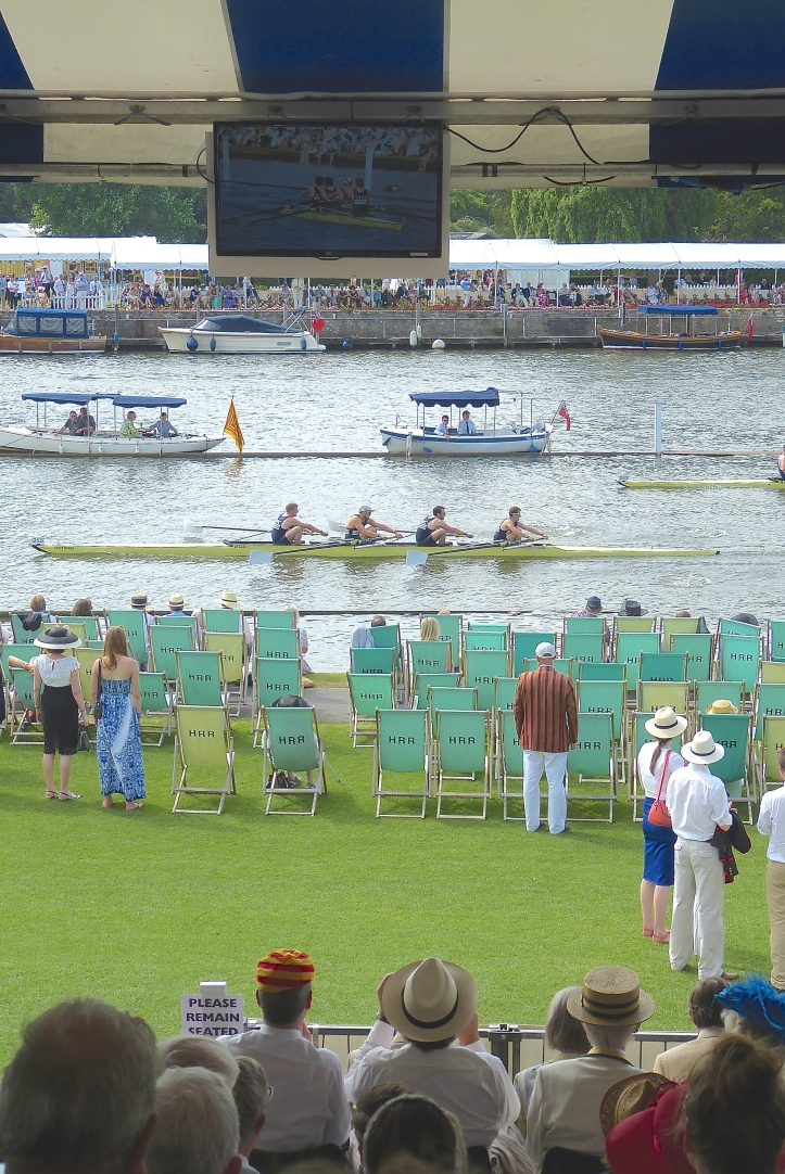 Pic 15. For the first time, televisions relayed the distant rowing action to the grandstands. I do not know if this was a universal experience, but I kept forgetting to watch them.