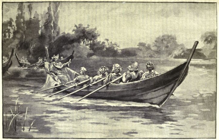 Pic 4. Edgar takes it easy in another romanticised Victorian view of his progress down the Dee. The kings adopt a laid back 'Lady Margaret' style of rowing.