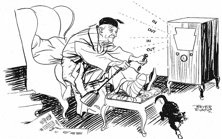 Pic 5. Punch magazine's view of rowing on the radio in 1936.