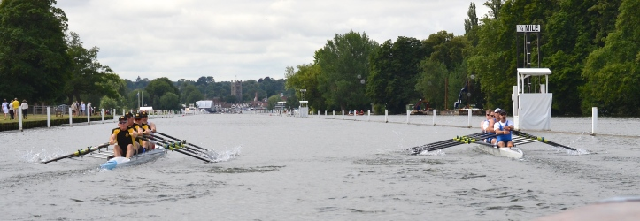 Pic 5. The Malmoe / Kungalv composite (left) race Cambridge BC from the USA (right) in a semi-final of D4x.