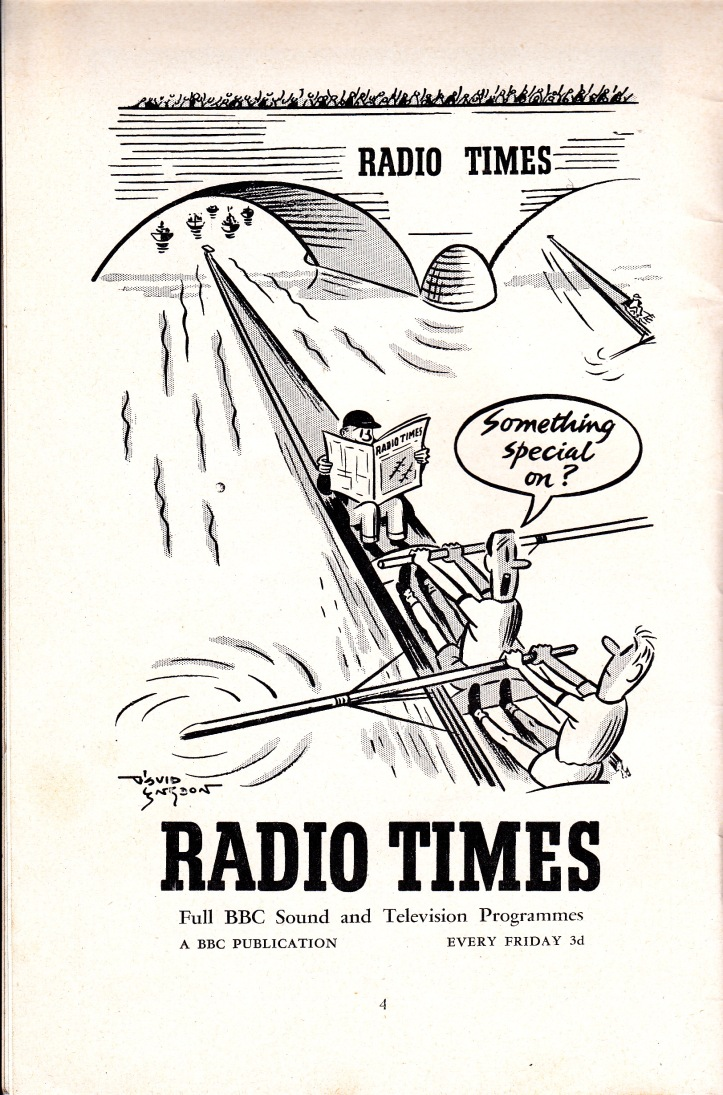 Pic 6. An advertisement for the Radio Times magazine in the Boat Race programme of 1956.