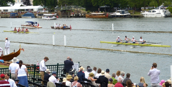 Pic 6 and 7. Two pictures of the Wyfold Challenge Cup race between Henley R.C. and N.S.R. Oslo. The crews clashed early and the umpire was forced to order a restart. Both crews were repeatedly warned for their steering. Henley took an early lead but Oslo pulled ahead in the second half of the course to win in 7:30 by three and a half lengths.