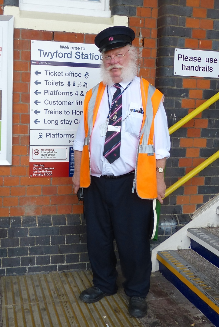 Pic 7. Anyone who has ever travelled to the regatta by train will know Norman Topsom, the ever helpful member of the staff at Twyford Station (where the branch line to Henley-on-Thames joins the main line). Sadly, after 53 years Norman is retiring. A few years ago he was awarded the MBE https://en.wikipedia.org/wiki/Order_of_the_British_Empire by the Queen 'for services to the railway industry'. Norman was also the long-time clock winder at St Mary's, Henley, keeping the timepiece going for forty years. They don't make people like Mr Topsom anymore.