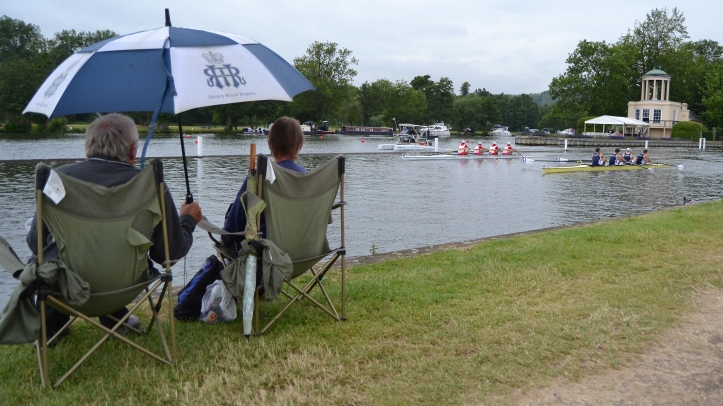 Pic A. Tideway Scullers race London Rowing Club in mid-morning drizzle.