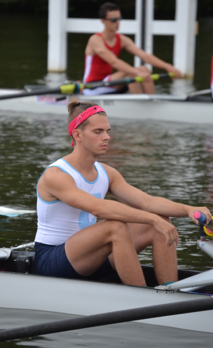 Pic D. Maloney of Columbia University, USA, prepares himself before the start of the race against the University of the West of England.