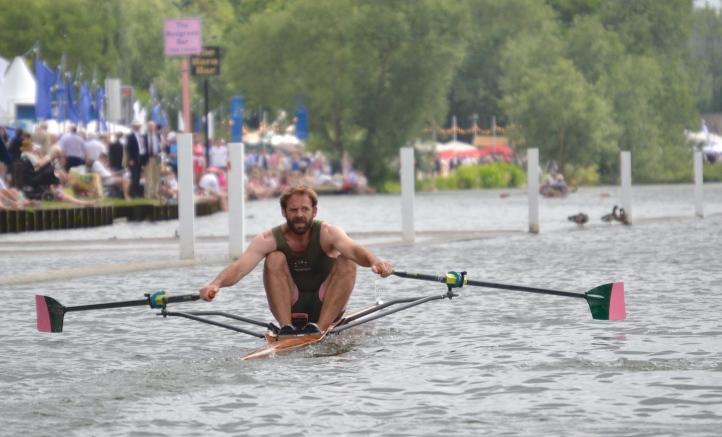 Pic E.   Hugh Mackworth-Pread of Auriol Kensington Rowing Club in a heat of the Diamond Sculls.