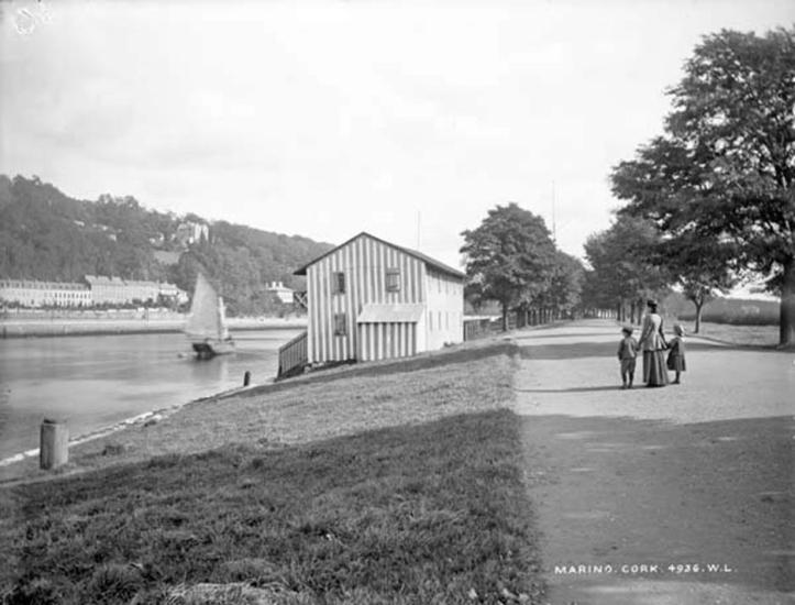 The Marina, Cork, with the old boathouse of Shandon Rowing Club facing onto the River Lee.