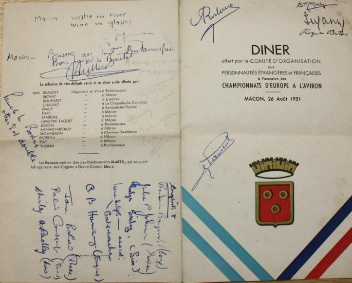 Pic: Menu signed by some members of the 1951 GB crew at Macon. Courtesy of the River & Rowing Museum.