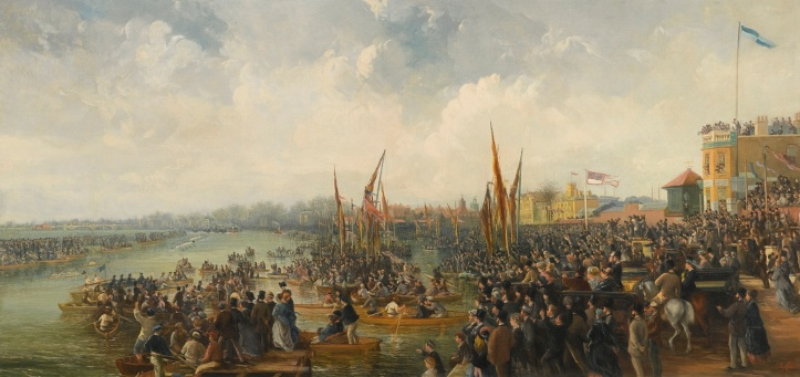 Pic 1. An evocative if not entirely accurate view of an Oxford - Cambridge Boat Race finish in mid-Victorian times. Picture: Sotheby's.