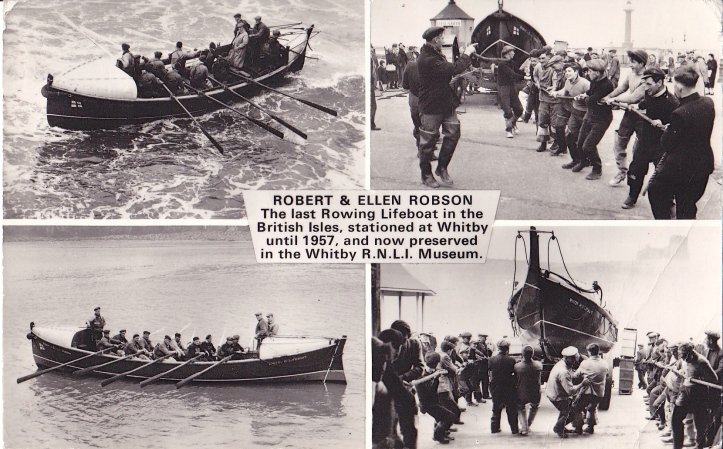Pic 1. A postcard from the 1960s showing the last rowing lifeboat in Britain, the 'Robert and Ellen Robson'.