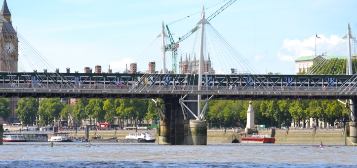 Pic 11. The Golden Jubilee Bridges and Hungerford Bridge. Left to right, Folkard, Maynard and Pettipher.