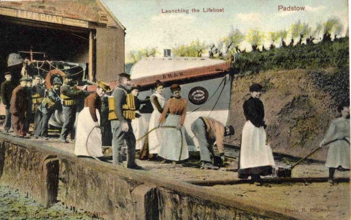 Pic 12. The pulling-sailing lifeboat 'Arab' was in service 1883-1900 and based at the Cornish fishing port of Padstow. The Padstow station had a slipway down which the boat could be launched directly into the sea, eliminating the need for a carriage.