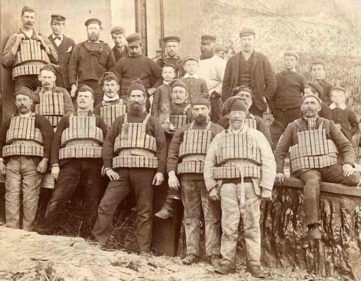 Pic 13. Some of the Padstow lifeboatmen before the 1900 disaster. The man in the front row, third from the left is James Grubb, the coxswain of the steam lifeboat that was lost and one of the eight that died.