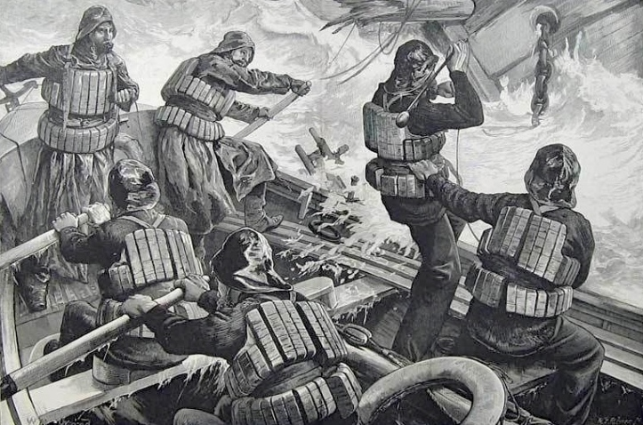 Pic 2b. How the 'Illustrated London News' saw rowing lifeboats in action.