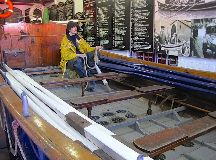 Pic 2d. The last rowing lifeboat, the 'Robert and Ellen Robson' is now on display in the RNLI Museum in Whitby, North Yorkshire. Compared with the modern craft pictured below, it seems 'out of the Ark'. Picture: Snapshooter46.