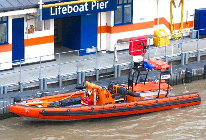 Pic 3a. The E Class lifeboat was chosen to operate on the Thames as a top speed of 40 knots was required and none of the RNLI's in-shore lifeboats then existing could achieve this speed. The E Class boats are propelled by twin water jets which are not vulnerable to debris and are safer for people in the water. They also allow precision in manoeuvring and can produce emergency stops. You can take a wonderful virtual tour of the Chiswick lifeboat by clicking here. http://www.chiswicklifeboat.org.uk/eclass.html Picture: Geof Sheppard.