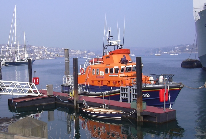 Pic 3b. Today's Falmouth off-shore lifeboat, the 56-foot/17-metre Richard Cox Scott ­­– which also carries an inflatable boat that can be deployed at sea. She cost £2m and provides coverage up to 50 miles/80 km out to sea. Picture: Vernon39.