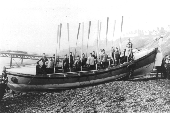 Pic 4. The twelve-oared Folkestone Lifeboat J McConnel Hussey http://www.folkestonehistory.org/index.php?page=folkestone-s-lifeboat-station that saw service between 1893 and 1903. She was 38 feet long 8 feet wide. The boat was self-bailing and self-righting, even with the masts up and sails set. The cost of the boat, carriage and equipment was £900.