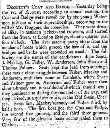 Pic 7. In Doggett's 300th year, @Thames Pics put out this cutting from an 1815 newspaper reporting on the 100th year of Doggett's. The 200th year fell during the First World War and so went unmarked.