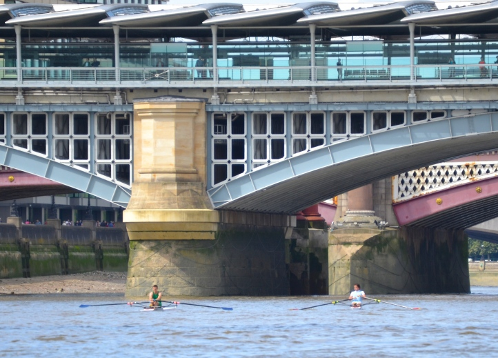 Pic 9. Blackfriars Rail Bridge, on the left is Folkard (green), on the right Maynard (light blue).