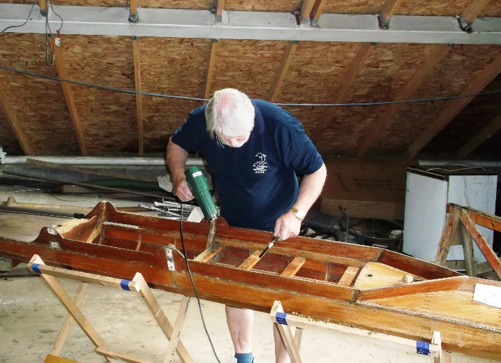 Roger Bean hard at work repairing the J. Hopper in June 2014.