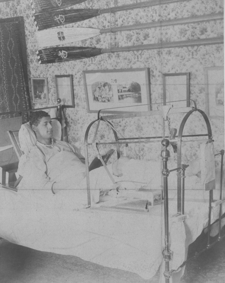 Benjamin Hunting Howell in bed after his rowing accident in autumn 1897 when he crashed into another sculler on the narrow Cam.