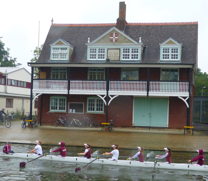 Pic 1. The Goldie Boathouse, the spiritual home of Cambridge University Boat Club (CUBC). Strictly speaking, it has no connection with the bumps, the peculiar form of boat racing in which a number of boats chase each other in single file, each crew attempting to catch and 'bump' the boat in front without being caught by the boat behind. All members of CUBC, Cambridge University Women's Boat Club and the Cambridge University Lightweight Rowing Club row for their respective colleges during the Lent (in February) and May (in June) Bumps.