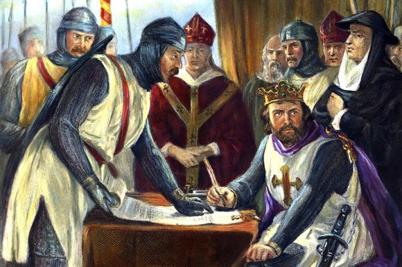 "Pic 1. In this romanticised Victorian illustration, King John is told off for attempting to sign Magna Carta with a pen when every schoolchild knows that he should have affixed his wax seal to it. John is one of England's most unpopular kings, not least because he persecuted Robin Hood (the fact that Robin is fictitious does not seem to make any difference). A. A. Milne's poem for children, ""King Johns Christmas"", begins 'King John was not a good man, / He had his little ways. / And sometimes no one spoke to him, / For days and days and days'."