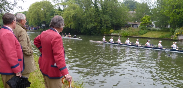 "Pic 2. 'Good luck Emma'. Old boys of Emmanuel Boat Club ('Emma"") cheer on the college women's first boat, on their way to the start. The boat both started and finished the Mays in third place in Division One. Marks et al make the bold claim that between 1990 and 1997, Morag Hunter of Emmanuel 'won more blades than any other individual in the history of bumps racing'."
