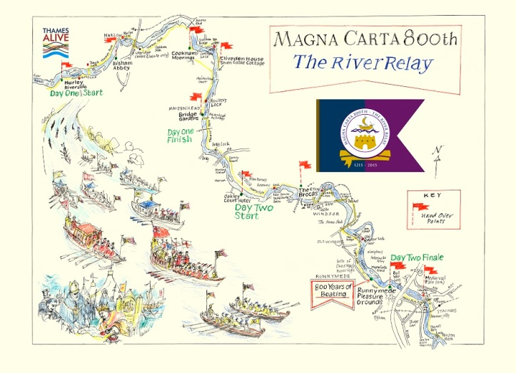 Pic 5. The route of the river relay. Illustration by Peter Kent.
