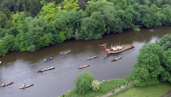 Pic 6. Gloriana and some of her escort. The royal barge was privately commissioned as a gift to Queen Elizabeth on her Diamond Jubilee in 2012. Her Majesty asked that Gloriana be retained by the Maritime Heritage Trust http://www.maritimeheritage.org.uk/ and, with the assistance of Thames Alive, be used to promote better use of the Thames.