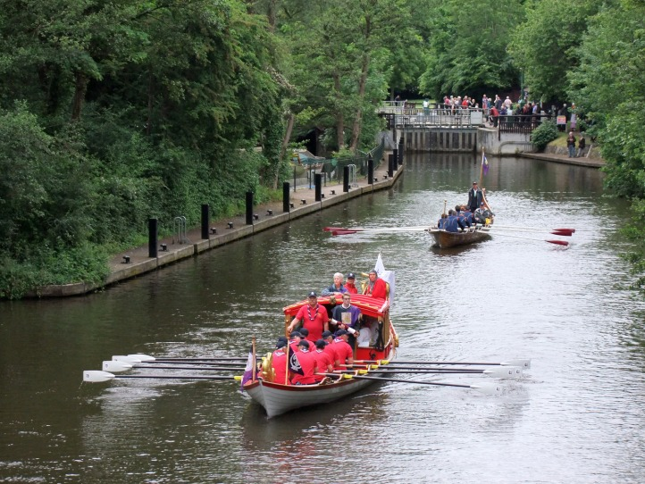 Pic 7. The Royal Shallop Jubilant leaves Hurley. She was commissioned by The Thames Traditional Rowing Association http://www.traditionalrowing.com/ to celebrate the Queen's Golden Jubilee in 2002.