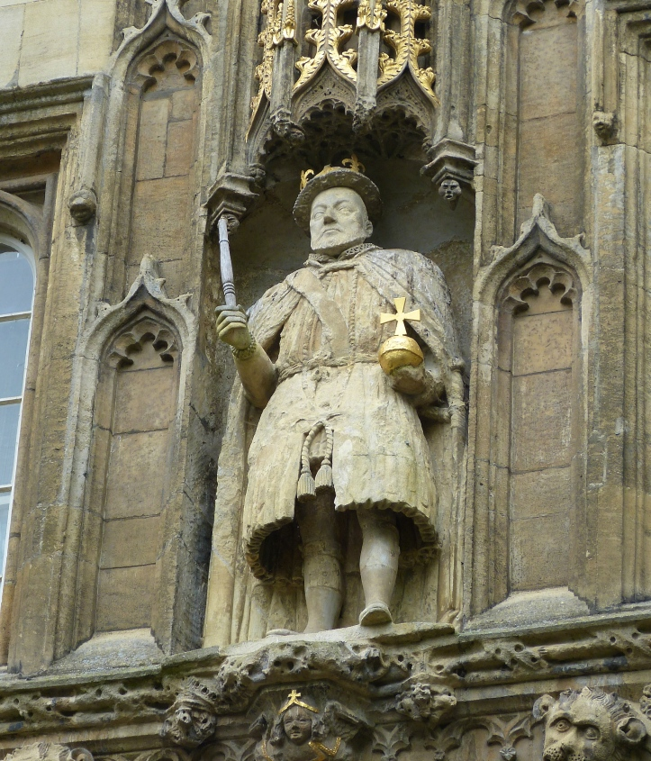 Pic 9. A close-up of the statue of Henry VIII. He holds a wooden table leg instead of the original stone sceptre in his hand. Myths abound as to how the switch was carried out and by whom.