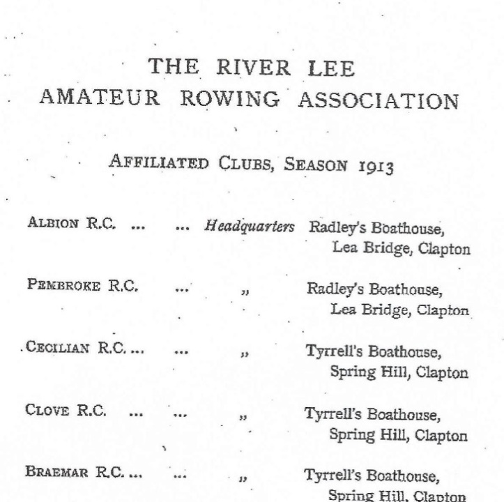 Crump's book on Lea rowing ignored the Tradesmen's clubs, which there were many of at that time.