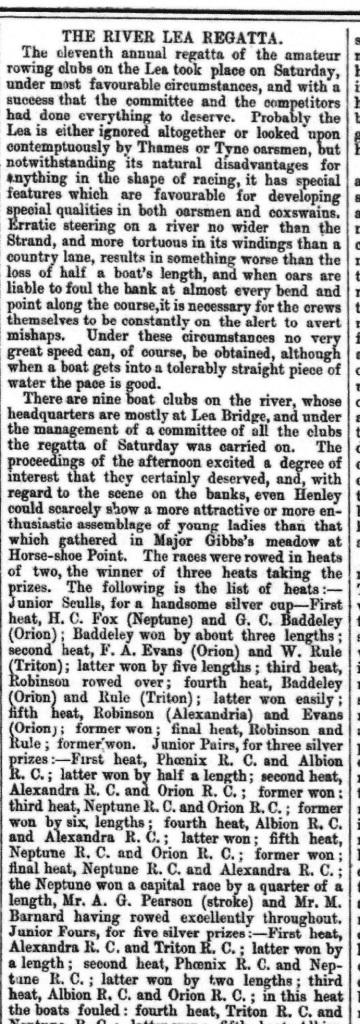 1870s Lea Regatta newspaper article.