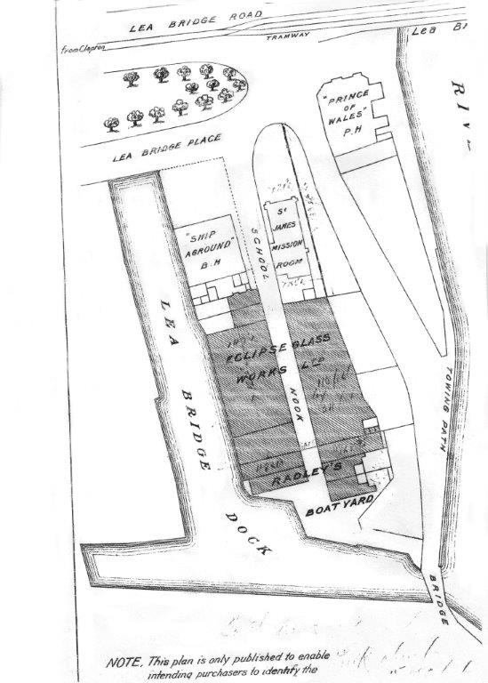 Radleys' Paradise Dock Boatyard site map early 1900s.