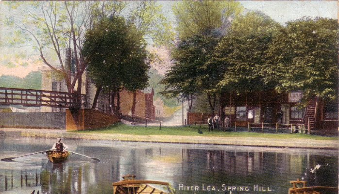 View from Radleys Boatyard at Springhill. An old post card, probably from the early 20th century. High Bridge is on the left.