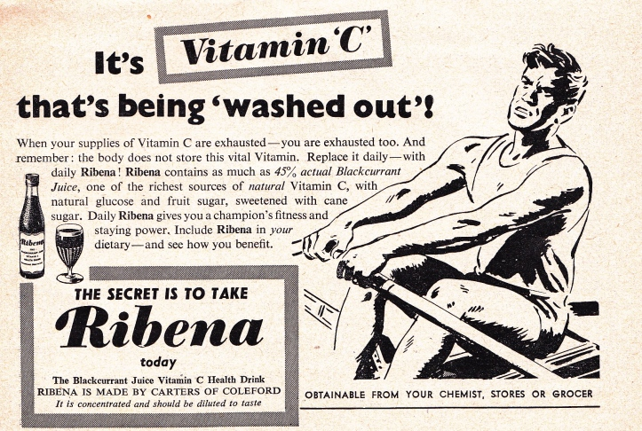 Pic 10. Sugar plus Vitamin C advertised in a 1954 edition of Rowing.