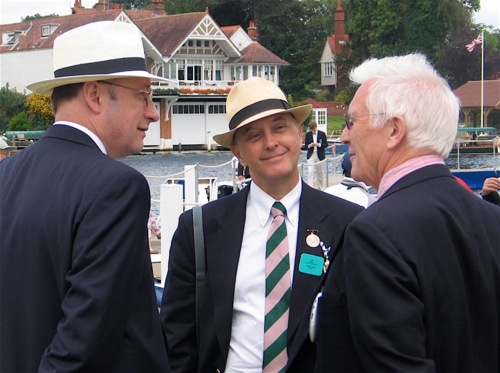 Pic 1. At the 2011 Henley Royal Regatta, HTBS Editor Göran Buckhorn (left) and contributors Tim Koch (centre) and Chris Dodd (right) discuss 'all aspects of the rich history of rowing, as a sport, culture phenomena, a life style, and a necessary element to keep your wit and stay sane'.