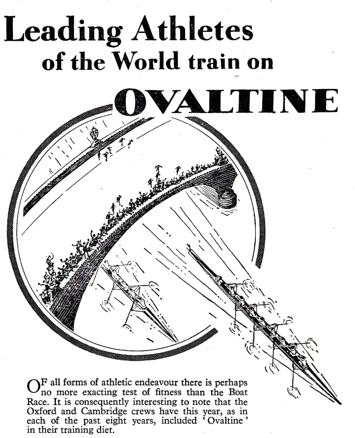 Pic 12. Ovaltine – a beverage made of malt extract, whey and sugar advertised in the 1956 Boat Race programme.