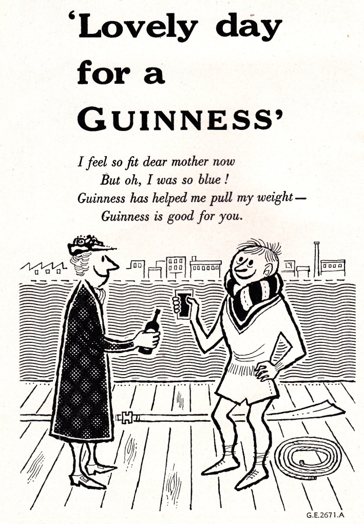 Pic 14. The traditional British attitude to sport and hydration. HTBS has covered Guinness ads and rowing many times in the past. This 1956 version makes the claim, seriously or not, that the stout will help rowers 'pull their weight'.