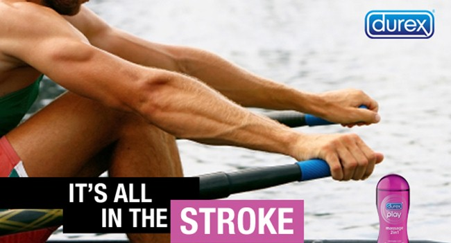 Pic 15. In 2012, the South African arm of condom manufacturers Durex put this picture on Twitter immediately following the splendid win by the country's lightweight four at the London Olympics. There is also a probably unintended sub-joke for the initiated – who has not put on a new rubber grip on the end of the handle of a sculling blade without giggling? Not just me, I hope. While the ad may be slightly puerile viewed in retrospect, the secret of comedy is, of course, timing.