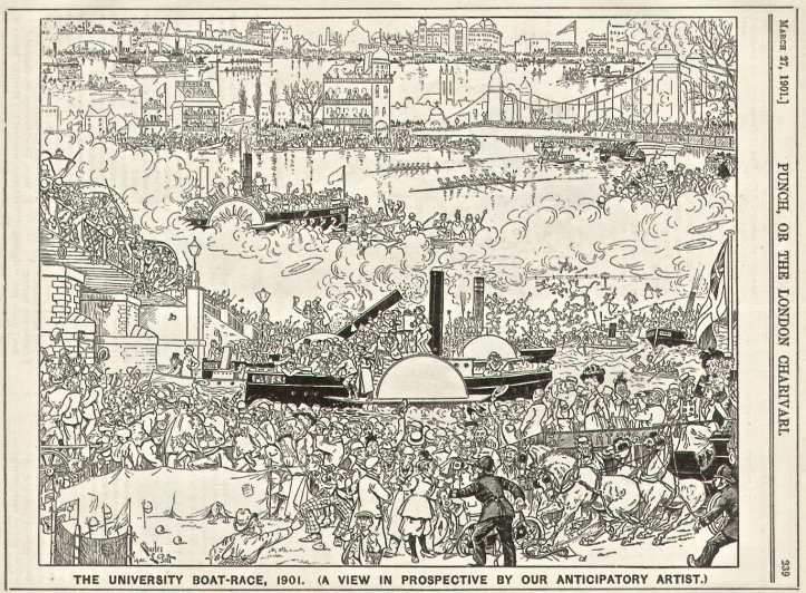 Pic 1. A view of the 1901 Oxford - Cambridge Boat Race by Punch magazine's 'anticipatory artist'. Boat Race Day 2016 should be at least as busy with four races going off in the space of an hour.