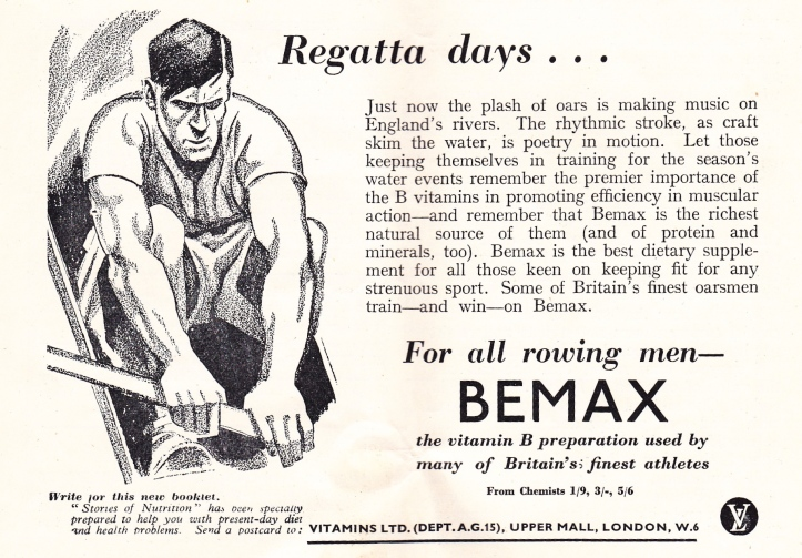 Pic 1. An advertisement for Bemax cereal in a 1951 edition of Rowing magazine.