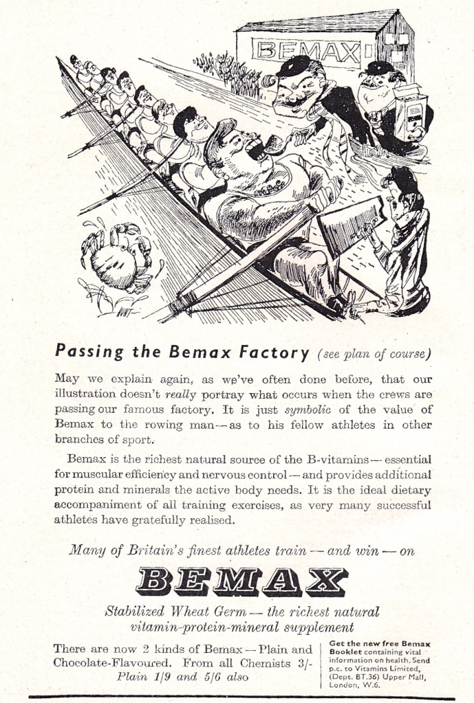 Pic 2. From the 1956 Boat Race programme: 'Passing the Bemax factory'.