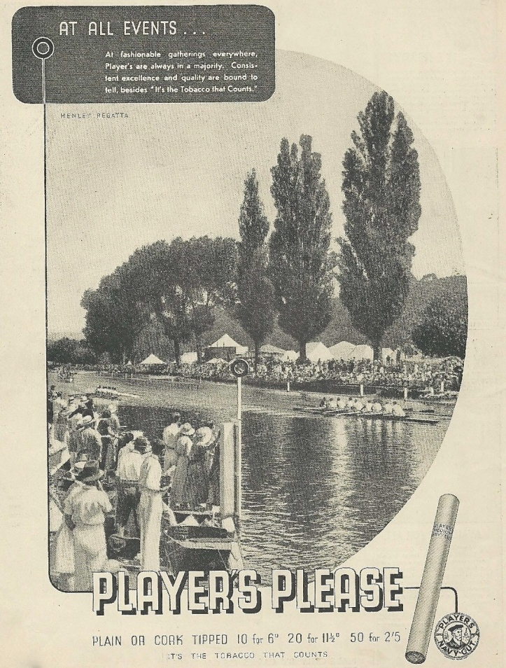 Pic 3b. In 1936, sport and smoking could be associated without complaint. This one shows Henley Royal Regatta, one of the 'fashionable gatherings' where Player's cigarettes 'are always in a majority'.