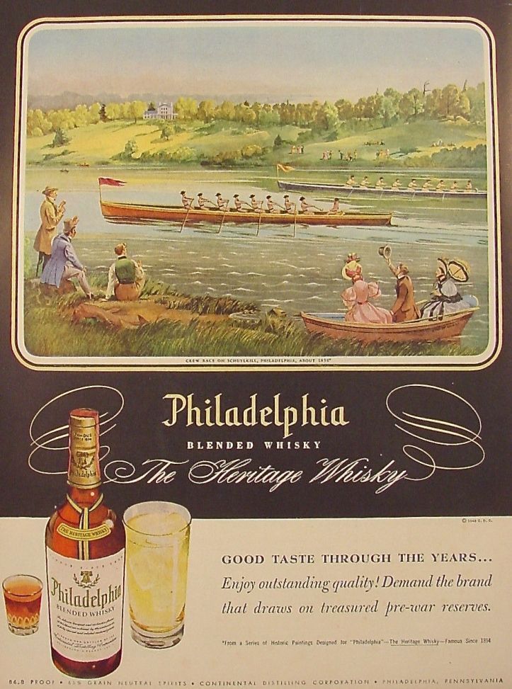 Pic 4. This American ad from 1948 equates rowing with 'good taste' by illustrating a race on the Schuylkill River in about 1836. To be fair, I suppose it is not unreasonable to associate Philadelphia with boat racing – especially for a 'heritage whisky' that 'draws on treasured pre-war reserves'.