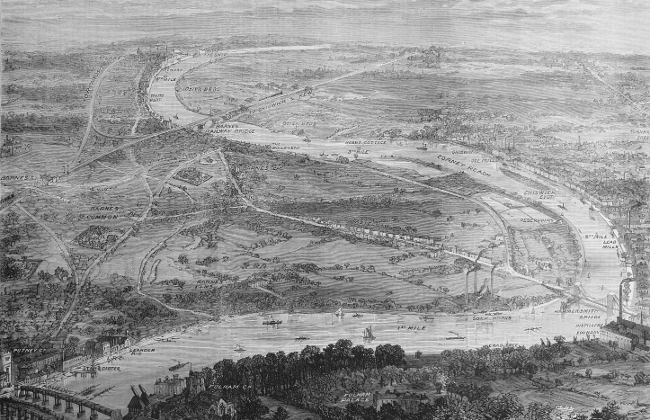 Pic 4a. The Putney to Mortlake 'Championship Course' in 1873. It is rural from Putney to just downstream of Hammersmith Bridge. Here is sited the soap works (later Harrods Depository) which boiled animal caucuses for fat, a distillery, a foundry and the lead and oil mills (the latter were actually downstream of Chiswick Eyot, not upstream as shown here). Other industrial concerns moved to the area as the century went on. Up stream of Hammersmith, the scene becomes bucolic again.
